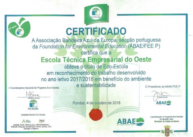 Certificado Eco-Escola 2017/2018